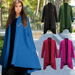 Wholesale 5 Colors Long Autumn Winter Womens Coat European Fashion Casual Woolen Maxi Slim Long Sleeve Jacket Overcoat Windbreakers Coats