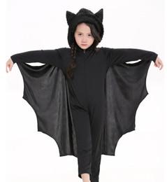 Wholesale Unisex Children s Siamese Pants Bat Costumes Halloween Stage Performance Uniform Temptation Black Cap Boys And Girls Can Milk Silk Gloves