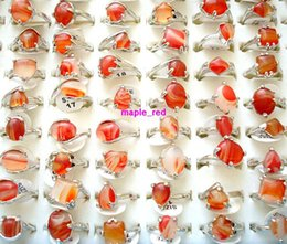 Wholesale 30pcs lot Beautiful Red Agate Stone Rings Multi-Design &Mixed sizes for Women Fashion Jewelry Rings
