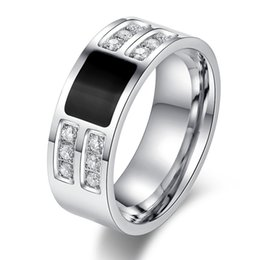Wholesale Men s Ring Jewelry Stainless Steel Beauty Crystal Mens Ring With CZ Stone Male Cool Party Jewelry
