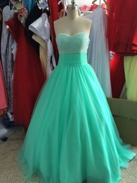 Wholesale Short Ballgown Party Dress - Real Photo 100% 2016 Ballgown Prom Dresses Tulle Sweetheart Sequins and Beads Mint Green Prom Party Dresses Custom Made