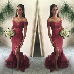 Red Sequined Mermaid Evening Dresses With Short Sleeve Off The Shoulder Side Split Long Party Dress 2019 Formal Plus Size Prom Gowns