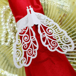 Wholesale 240pcs Laser Cut Hollow Peacock Paper Card Napkin Ring Serviette Buckle Holder For Hotel Bar Wedding Party Favour Decoration