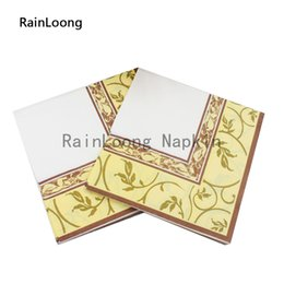 Wholesale RainLoong Yellow Flower Paper Napkin Event Party Supply Printed Dining Bar Tissue Napkins Serviettes Decoupage Table Decoratio cm cm