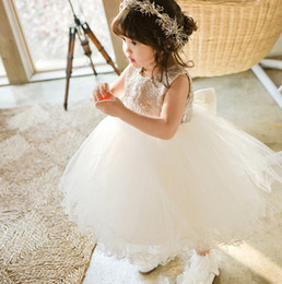 Baby Girls Wedding Dress New Party Dress for Kids Clothes 2016 Korean Fashion Embroidery Flowers Lace Bow Princess Tutu Dress MK-291