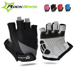 Wholesale RockBros Unisex Cyclign Gloves Half Finger Bicycle Bike Gloves Thick Palm MTB Road Downhill Gloves Breathable Guanti Ciclismo