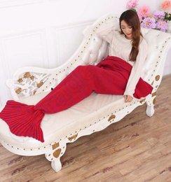 Wholesale 2016 New Adults Red Super Soft Hand Crocheted cartoon Mermaid Tail Blanket Sofa Blanket air condition blanket siesta blanket X85cm