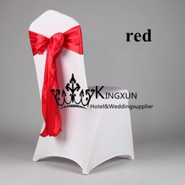 Wholesale 15CM CM Red Color Satin Chair Sash Chair Bow Fit On Wedding Chair Cover