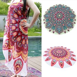 Wholesale Travel Gym Camping Bath Pool Cover Ups Floral Chiffon Round Blankets Towels Fashion Sport Outdoor Life