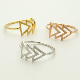 Wholesale Dainty Delicate Shiny Silver Plated Three Arrow Triangle Tribal Ring Size in k Gold Plated Silver Plated