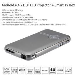 Wholesale M6 Android DLP LED Projector Smart TV Box XBMC G GB Miracast DLNA G G Dual Band WiFi Bluetooth HDMI EU US Plug