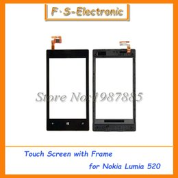 10pcs lot OEM Front Panel & Touch Screen Digitizer for Nokia Lumia 520 LCD Display Replacement with Frame