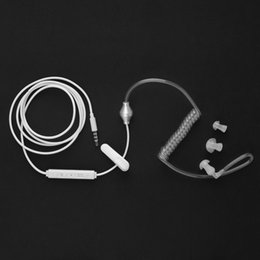 Wholesale 3 mm In Ear Anti Radiation Earphone Air Tube Stereo Headset Monaural Headphone with Microphone for Xiaomi iPhone Samsung MP3