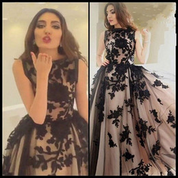 Top Sale Vintage Prom Dresses 2016 Black Appliques Champagne Jewel Sleeveless Floor Length Formal Tulle Party Dresses