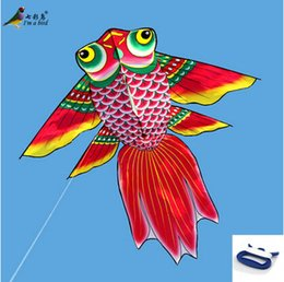 Wholesale New High Quality Outdoor Fun Sport m Power Cartoon Kite Goldfish Kites With Handle and Line Flying Higher Big Kites