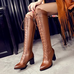 Wholesale The Spring and Autumn New Leather Boots with Pointed Boots with Thick Bandage Large Size Jackboots