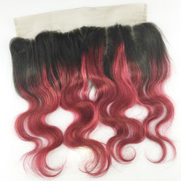 """#1b 99j #1b Blue #1b Purple #1b Red 13x4"""" two tone full cuticle human hair body wave ombre color lace frontal"""