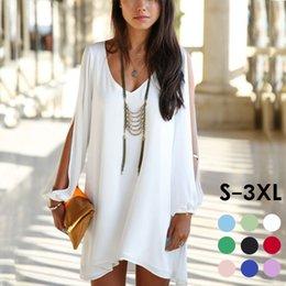 Wholesale Womens Plus Size Summer Dress V Neck Split Long Sleeve Mini Chiffon Dress Asymmetric Boho Dresses Tunics Colors S XL LSF0308