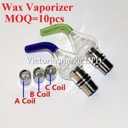 Glass wax Vaporizer Dual Quartz Coils come with Inclined Mouth Quartz Ceramic Tube Dual Coils Coils Glass Globe ECigs for 510 thread batter