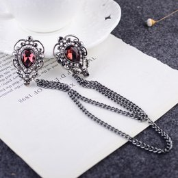 Droplets collar pin Chain Buckle Personality brooch buckle collar Korean shirt brooch Male collar pin Unisex Epoxy Retro