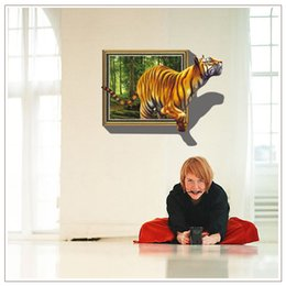 Wholesale 70 cm D Tigers Wall Stickers Fake Windows Jungle Home Decor PVC Removable Creative Living Rooms Wall Decal