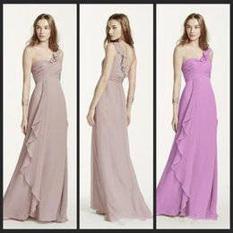 Wholesale Custum Made New One Shoulder Chiffon Dress with Cascading Detail bodice Features Style Bridesmaid Dress