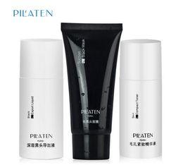 Wholesale PILATEN Blackhead Remover Mask Black Head Export Liquid Skin Compact Toner Pilaten Pore Cleaner Set DHL Free