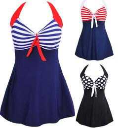 Wholesale New Sexy Stripe Padded Halter Skirt Swimwear Women One Piece Swimsuit Beachwear Swim dress Plus size M XL