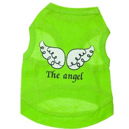 Cheap 100Pcs Lot Spring Summer Pet Dog Vest Round Collar Angel Wing Pattern Pet T-Shirt Dog Clothes Small Medium Pets Hot Sale