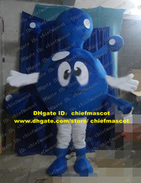 Wholesale Visual Blue Molecule Molecular Ion Atom Dust Dirt Mote Particle Particulate Corpuscle Mascot Costume Cartoon Character ZZ1128 FS