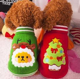 Wholesale Hot Xmas Reindeer Design Lovely Puppy Pet Cat Dog Sweater Knitted Coat Apparel Clothes Sizes CHristmas JF