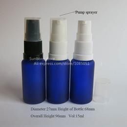 Bouteilles bleu cobalt gros à vendre-Livraison gratuite 10 pcs 15 ml cobalt gel bleu bouteille en verre avec pompe lotion, Essential Bouteille Pompe à huile, gros usine
