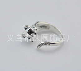 Wholesale-Hot Sale Beautifui CZ Crystal Cat Animal Wrap Rings for Women and Girls Unique Rings Fine Jewelry