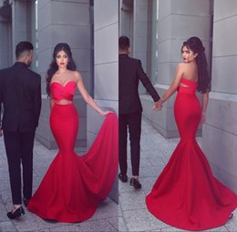 Wholesale 2016 Elegant Long Mermaid Red Prom Party Dresses Vestidos De Noiva Arabic Sweetheart Backless Dew Belly Formal Evening Gowns