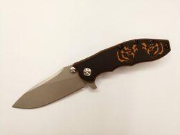 Wholesale NEW Arrival ZT Hinderer D2 Blade Titanium Handle Custom Tiger pattern G Flipper Folding Knife Selected Dream EDC