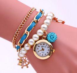 Acheter en ligne Montres de gros perle-Bracelet en gros-Nouvelle Arrivée Anchors Casual chaîne Pearl montres de montre à quartz Montre ronde analogique Fashion Ladies Filles Femmes