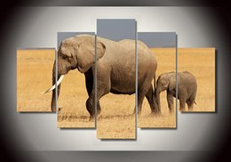 5 Piece HD Printed Africa Elephants Landscape Group Painting room decor print poster picture canvas cheap modern paintings