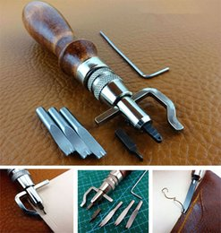 Wholesale Pro in Leatherwork Craft Sets Stitching Groover Creasing Edge Beveler To Sew Crease Leather SET