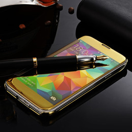 For Samsung S5 I9600 Clear View Cover Luxury Smart Mirror Screen Flip PU Leather Holster Case For Samsung Galaxy S5 I9600