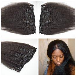 7pcs Peruvian Human Hair Full Head Natural Black Kinky straight Clip in Human Hair Extensions G-EASY Hair