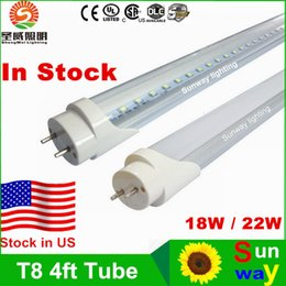 Wholesale Stock In US ft led t8 tubes Light W W W mm Led Fluorescent Lamp Replace Light Tube AC V No Tax Fee