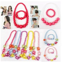 Wholesale hot the best fashion for children colorful bead necklace and bracelet kit multiple colors for option