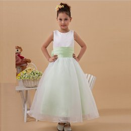 Ankle Length With Sash Wedding Girl's Dress Free Shipping 100% High Quality Jewel Neck Child Gown