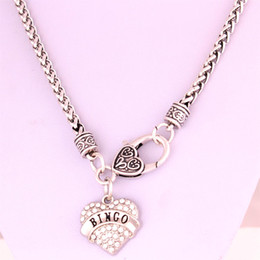 Drop Shipping New Arrival rhodium plated zinc studded with sparkling crystals BINGO heart pendant wheat chain necklace