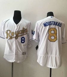 Wholesale Majestic - 2016 New MLB Kansas City Royals Baseball Jerseys #8 Mike Moustakas Majestic White World Series Champions Gold Program Stitched Name Number