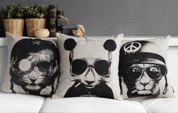 Pilot of monkey panda lion sunglasses super cool pillow war decorative pillows euro case arts painting kids animal pets gift