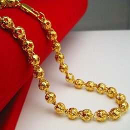 Do not fade plated gold necklace beads chain hollow imitation 999 gold chain men transport Bead Wedding Jewelry
