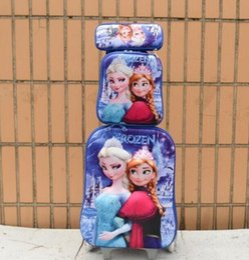 Filles valise à roulettes en Ligne-Gros-New bagages fashion girl valise Voyage couronne Elsa Anna set (boîte à lunch + Pen bag + bagages chariot) bagages à roulettes