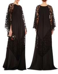 Wholesale 2016 jewel neckline lace caftans arabic evening dresses Dubai Kaftan Abayas muslim evening gowns islamic clothing