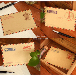Papelería sobre de papel en venta-(10 pedazos / porción) mini efectos de escritorio de la vendimia del airmail del papel del almacenaje de los efectos de escritorio de la letra de la postal del sobre de la vendimia Sobres Kraft
